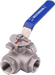 DERNORD 3-Way Ball Valve, L Mounting Pad, Stainless Steel 304 Female Type with Vinyl Locking Handle (1/2 Inch NPT)