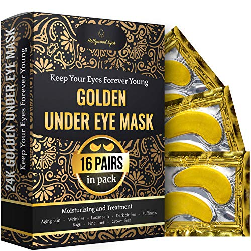 61S4AP wLtL - Under Eye Patches, 24K Gold Collagen Eye Mask, Dark Circles and Wrinkles Treatment, Anti-aging, Gel Pads for Puffiness and Bags, Immune System Support for Eyes, With Hyaluronic Acid, Deep Moisturizing