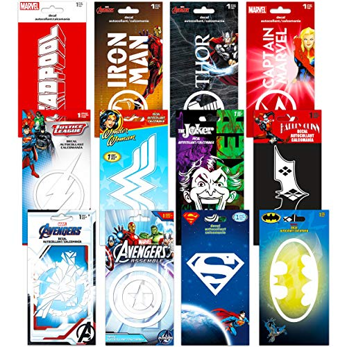 Marvel DC Comics Ultimate Superhero Decal Sticker Set ~ 12 Premium Jumbo Super Hero Sticker Decals Pack Bedroom Decor Superhero Birthday Party Favors Bulk Decorations for Boys Wall Art Laptop Stickers