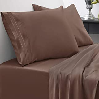 1800 Thread Count Sheet Set – Soft Egyptian Quality Brushed Microfiber Hypoallergenic Sheets – Luxury Bedding Set with Flat Sheet, Fitted Sheet, 2 Pillow Cases, King, Brown