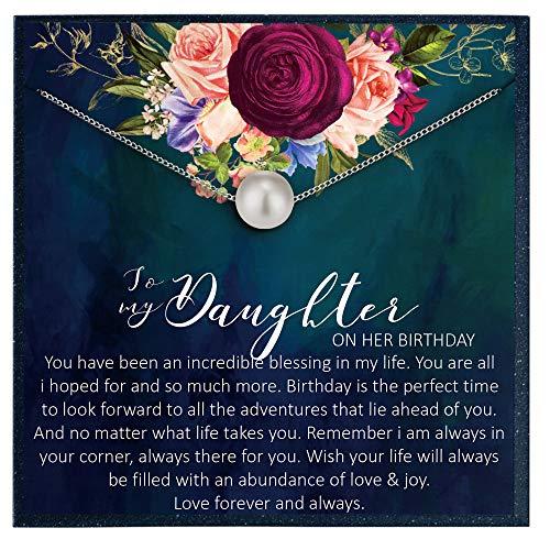 Grace of Pearl Regalo de cumpleaños para hija y hija en su cumpleaños, joyería de regalo para hija de mamá e hija, tarjeta de cumpleaños