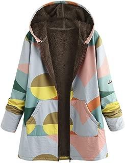 Hooded Coats for Women Plus Size,Winter Warm Vintage Zip Up Outwear Jacket Splice Print Asymmetrical Hooded Outwearcoat