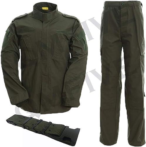 QMFIVE Combat Tactique, Camouflage Camouflage pour Hommes Combat BDU Veste Chemise et Pantalon avec Ceinture Uniforme...