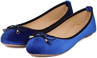 Women's Casual Slip On Flats Shoes Shallow Mouth Bow Soft Sole Leisure Ballet Shoes