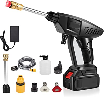 Cordless Pressure Washer, 21V 3000mAh Max 460PSI Portable Battery-Powered Electric Cleaner with 5-in-1 Nozzle and 16ft Hose for Cleaning Car, Watering Flowers, Cleaning Floors