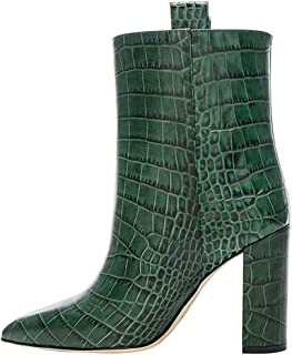 wetkiss Women Ankle Boots Fashion Crocodile Embossed Pointed Toe Thick High Heels Pull On Ladies Shoes