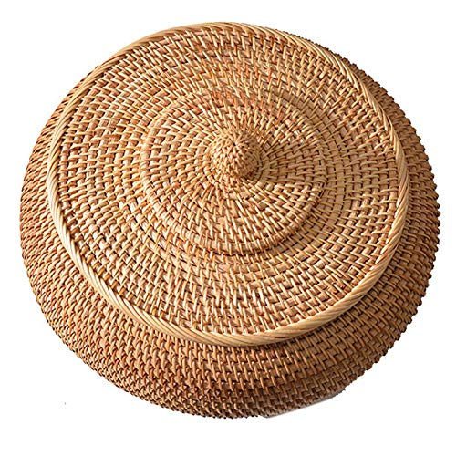 YeBetter Rattan Boxes with Lid Hand-Woven Multi-Purpose Wicker Tray with Durable Rattan Fiber Round 11 Inch Diameter