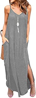 Womens Summer Casual Loose V-Neck Dress Sleeveless Long Nightgown Spaghetti Strap Split Maxi Dresses