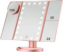 Vanity Makeup Mirror, Magicfly 10X 3X 2X 1X Magnifying Mirror 21 LED Lights, Touch Screen Adjustable Brightness & Adjustable Stand, Two power Supply Mode Travel Cosmetic Mirror, Rose Gold