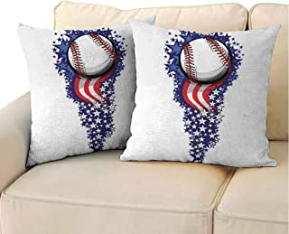 QIAOQIAOLO Fine Plush Pillowcase Sports (Set of 2) Stars and Stripes Fireworks Patriot Baseball Celebration Holiday Flag Graphic Easy to disassemble Purple Red White 18x18 inch