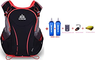 comprar comparacion AONIJIE 5L Mochila de nailon impermeable, para maratón, ciclismo, running chaleco, bolsa de deporte + 2 botellas de...