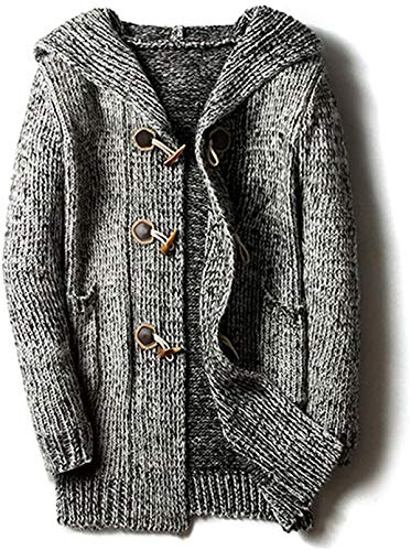Shiyirishop Men's Chunky Toggle Button Mid-Length Knitted Cardigan Sweater...