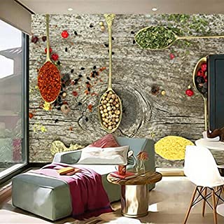 Wallpaper 3D Wall beautification Custom 3D Mural Wallpaper Spices Spoon Food Wallpapers Restaurant Kitchen Coffee Shop Background Wallpaper Papel De Parede 3D Poster-150X120CM
