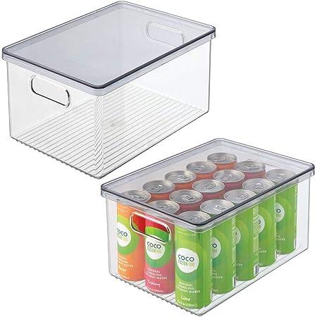 mDesign boîte de rangement pour réfrigérateur (lot de 2) – boite pour aliments avec couvercle – rangement pour frigo pour la cuisine et le garde-manger – transparent/gris