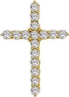 1.14 Carat (Ctw) 10K Solid Yellow Gold Round Diamond Religious Cross Pendant