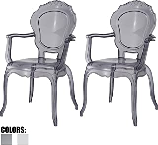 2xhome - Set of Two (2) - Belle Style Ghost Chair Ghost Armchairs Dining Room Chairs - Smoke Armchairs Lounge Chairs Seats Higher Fine Modern Designer Artistic Classic Mold