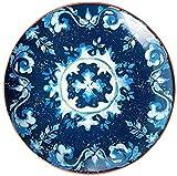 TREEECFCST Servizio di Piatti Dipinte a Mano Cena Piatto di Ceramica Ristorante Hotel Food Decoration Piatto Rotondo Blu (28 × 28 × 3 cm) Porcellana e Ceramica