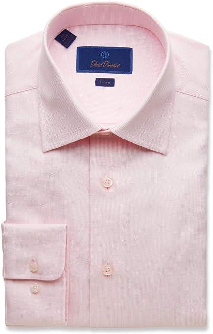 David Donahue Men's Trim Fit Micro Box Spread Collar Dress Shirt, Pink