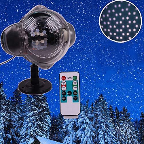 KCD LED Weihnachtslicht Im Freien Wasserdichte Schneeflocke Projektionslampe Projektor Beleuchtung für Rasen Bühnengarten Dekorationen-White Snowflake