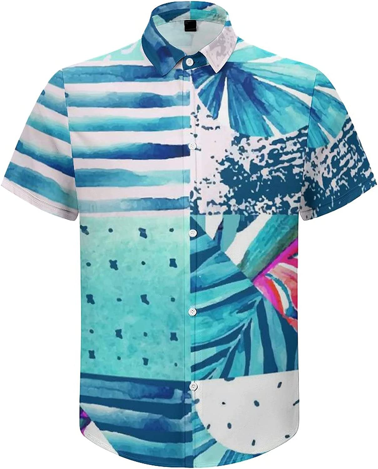 Men's Regular-Fit Short-Sleeve Printed Party Holiday Shirt Abstract Tropical Trees River