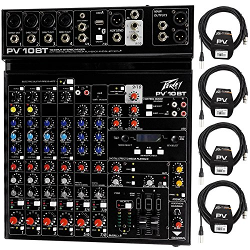 Package: Peavey PV 10BT PV10BT Pro Audio Mixer With 4 Mic In, Bluetooth, USB, Compressor/Effects and 3 Band EQ + (4) Peavey PV 20' XLR Female to Male Low Z Mic Cables