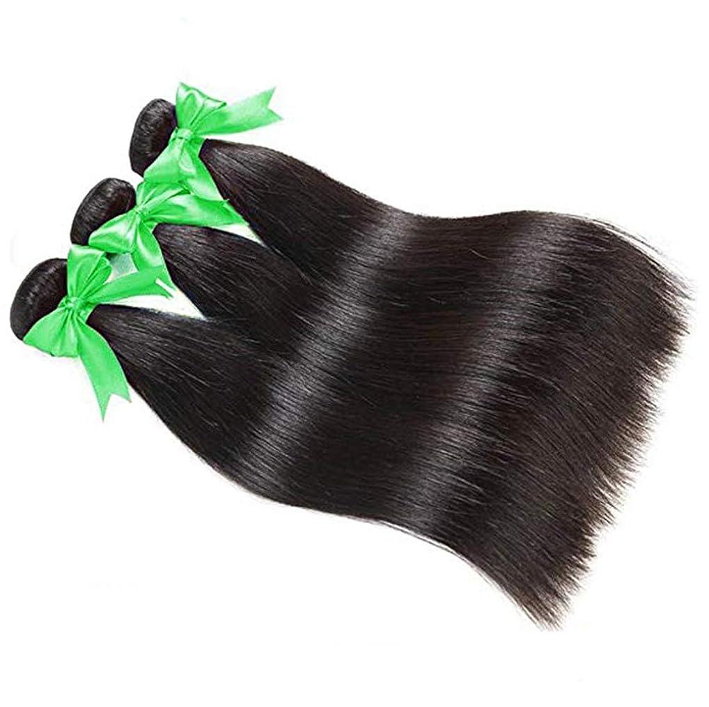 中止しますサワー嫌がらせ女性ストレート人間の髪の毛1バンドル100%未処理の絹のようなストレートバージン人間の髪の毛の束ダブル横糸ソフトと太い髪