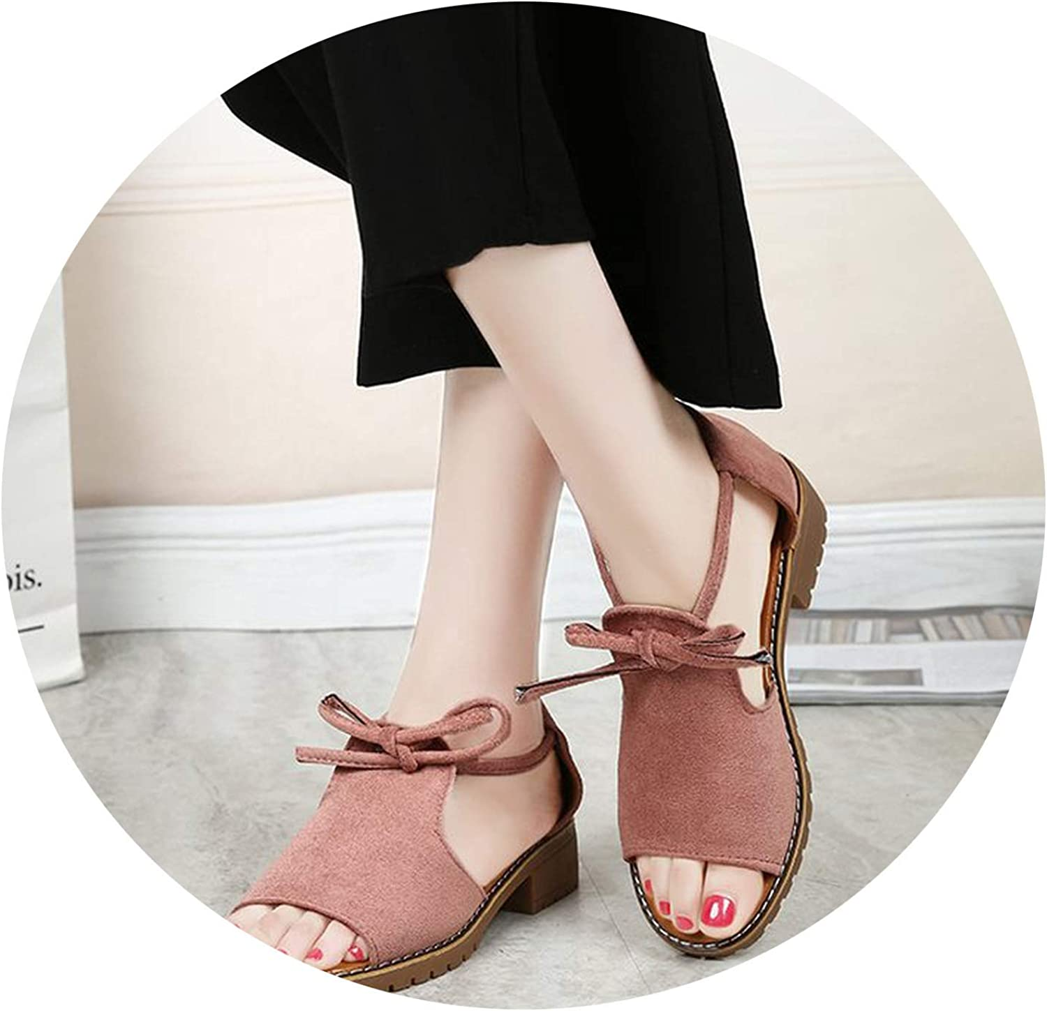 Thick with Sandals Female Summer Fish Mouth Buckle shoes Solid color Low-Heeled Women Sandals