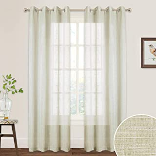 Long Sheer Curtains for Bedroom - Linen Textured Voile Privacy Window Treatment Panels for Living Room Sliding Glass Door Shades Farmhouse Cabin, 52 inches Wide x 90 inches Long, 1 Pair, Warm Beige