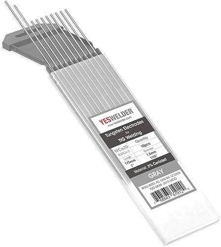 "TIG Welding Tungsten Electrode 2% Ceriated 1/16"" x 7"" (Gray, EWCe-2) 10-pk YESWELDER"