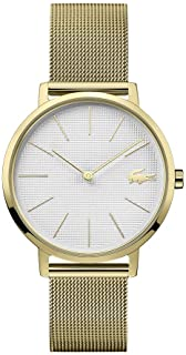 Lacoste Women's Silver & White Dial Ionic Thin Gold Plated 1 Steel Watch - 2001107
