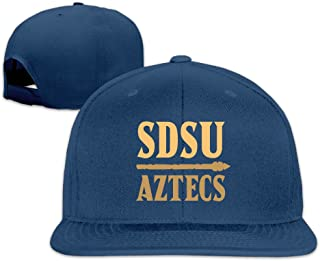 Male/Female San Diego State Aztecs Cotton Flat Snapback Baseball Caps Adjustable Mesh Hat Mesh Hats White One Size Fits Most