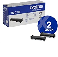 Brother Genuine TN730 2-Pack Standard Yield Black Toner Cartridge with Approximately 1, 200 Page Yield/Cartridge