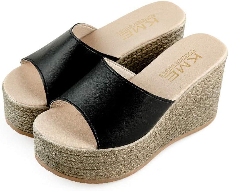 NURJOR Womens Wedges Sandals Slipper Ladies Peep-Toe Platform Flip Flop