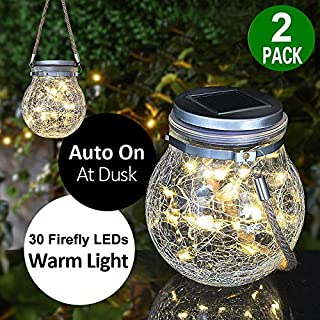 Solar Glass Lantern Lights Outdoor - 2 Pack Waterproof Solar Table Lamp Hanging Lights with 30 LED String Fairy Decorative Lights for Pathway, Tree, Landscape, Patio, Steps, Deck, Fence, Porch