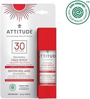ATTITUDE Natural Care, Hypoallergenic 100% Mineral Sunscreen Face Stick, Spf 30, 0.65 oz
