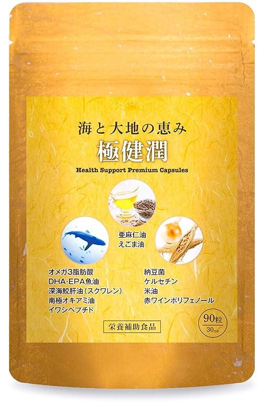 教育学許容無関心極健潤 オメガ3 DHA EPA サプリメント 深海鮫肝油 納豆菌 ケルセチン 亜麻仁油 えごま油 30日分