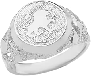 Solid 925 Sterling Silver Zodiac Sign Band Nugget Men's Ring