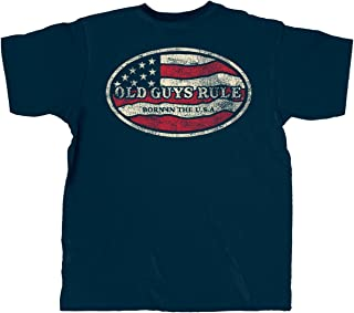 T Shirt for Men | Born in The USA | Cool, Funny Graphic Tee for Dad, Husband, Grandfather Gift | Navy