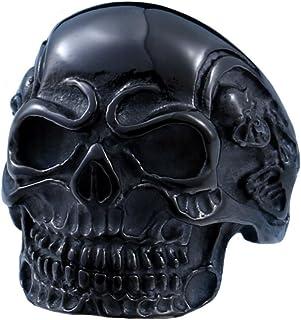SINLEO Stainless Steel Ring for Men Women Cool Gothic Skull Head Biker Rings, Size 7-15
