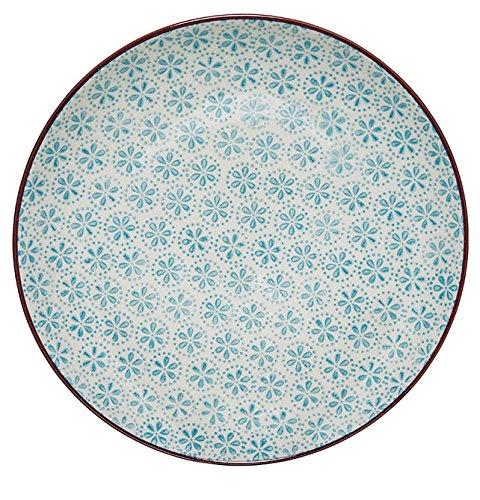 "Bloomingville ""Patrizia"" Teller handbemalt blau gemustert Kuchenteller"