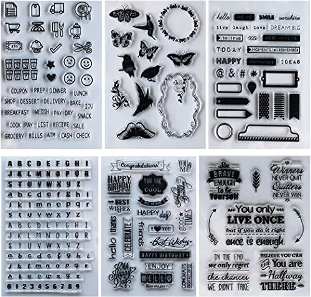 SOOKOO 6 Sheets Different Style Clear Stamps for Card Making Decoration and Scrapbooking (Style 02)