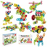 PicassoTiles STEM Learning Toys 250 Piece Building Block Kids Construction Engineering Kit Toy Blocks Children Early Education Playset w/ Free IdeaBook, Power Drill, Clickable Ratchet, Age 3+ PTN250