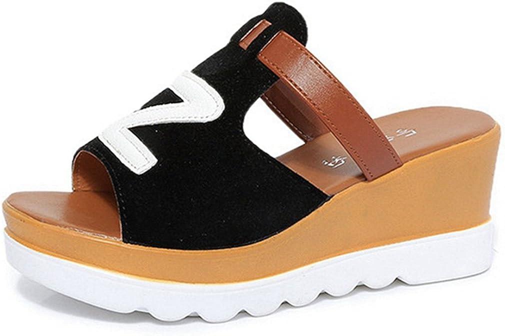 CYBLING Women Wedges Slides Platform Sandals Open Toe Faux Suede Anti-Slip Slippers