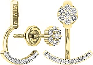 Dazzlingrock Collection 0.25 Carat (ctw) 10K Gold Round White Diamond Pendulum Stud Earring Jackets 1/4 CT