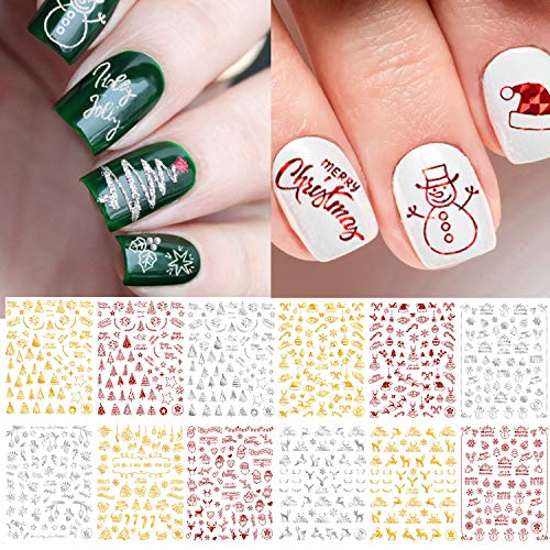 Adurself 12 Sheets Christmas Metallic Nail Art Decals Xmas 3D Nail Self-Adhesive Stickers Santa Claus Reindeer Snowflakes Snowmen for Women Girls Kids DIY Nail Design Manicure (Metallic Red Gold Silver)