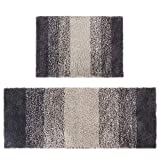 Aonewoe Microfiber Mats Set of 2 Soft Shag Bath Rug Kitchen Rug Door