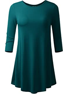 AMORE ALLFY Women's 3/4 Sleeve Round Neck Casual Flare Hem Tunic