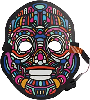 Scary Mask, Cold Light Source Mask Cosplay Costume Cosplay Glowing Mask, Voice Control for Festival Halloween