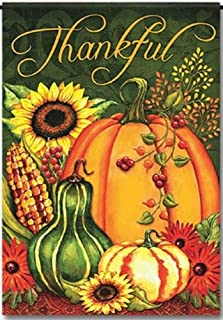 Discount Flags USA Thankful Harvest Welcome Garden Flag - Autumn Pumpkins Fall Design - One Sided Outdoor Yard Decor - Polyester 11.75