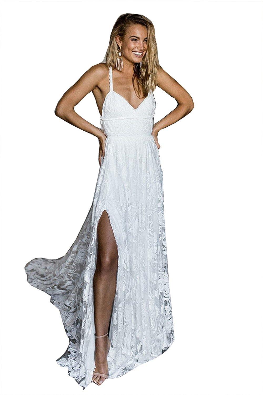 Fanciest Women's Spaghetti Straps Lace Wedding Dresses Backless Bohemian Bridal Gowns